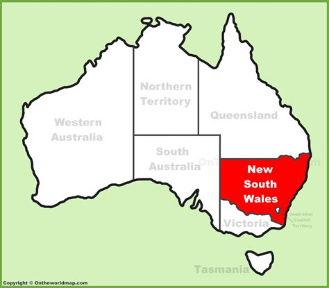 south wales nsw location   australia map