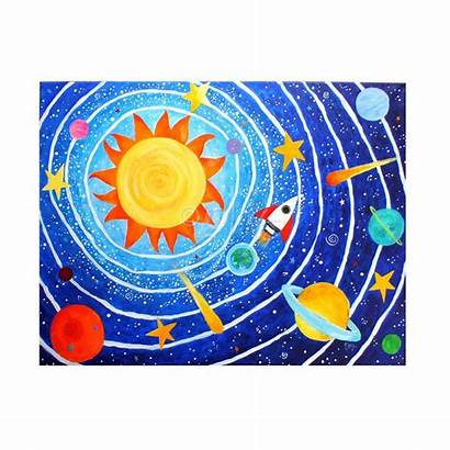 Space Painting Solar System Planets Canvas Children