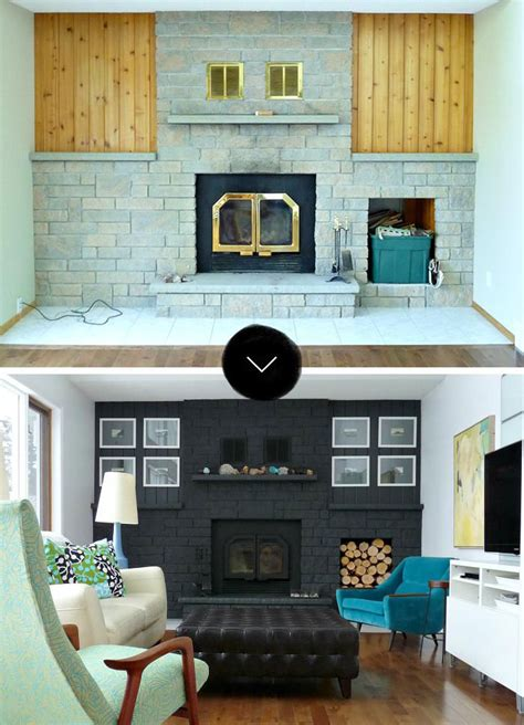 Black Fireplace - a bold black fireplace makeover design sponge