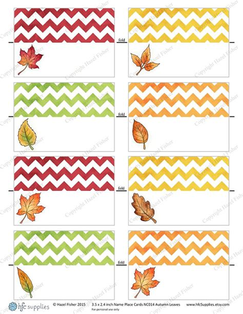 leaf name card template thanksgiving printable name cards festival collections