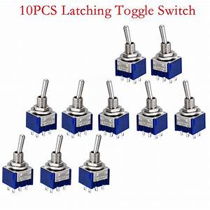 10pcs Mini Latching Toggle Switch Dpdt 2 Positions On