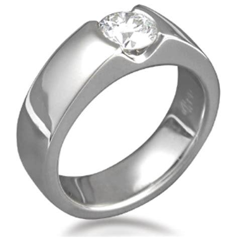 modern flush stone engagement ring