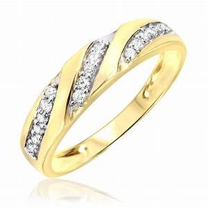 1 4 carat tw diamond men39s wedding ring 14k yellow gold for Mens yellow gold wedding rings