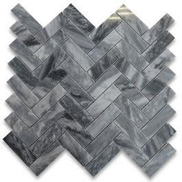 bardiglio gray italian dark grey marble  herringbone