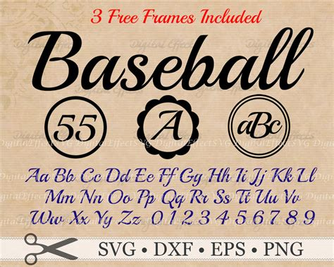 baseball monogram font retro baseball svg files dxf eps
