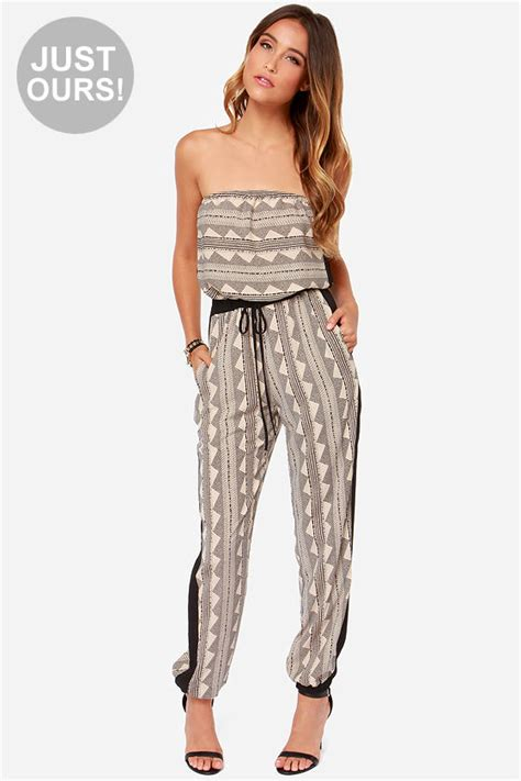 lulus jumpsuit lulus exclusive need i say more strapless black print