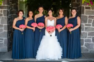 navy blue bridesmaid charming coral and navy wedding zest floral and event design