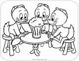 Ducktales Coloring Louie Huey Dewey Triplets Sharing Disneyclips Printable Disney Milkshake Funstuff sketch template