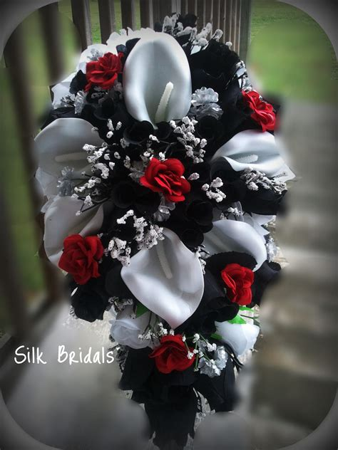 Bridal Bouquet Silk Wedding Flowers Black Red White Silver