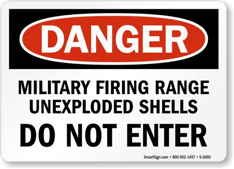 Danger Military Firing Range Do Not Enter Sign, Sku