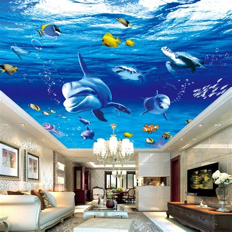 custom  photo wall paper dolphin fish suspended ceilings