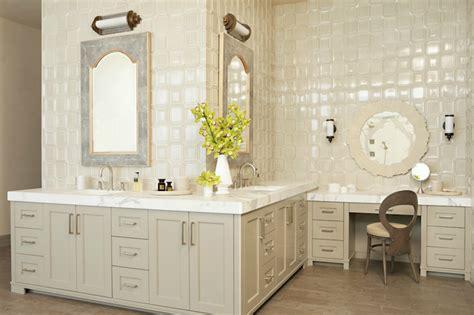 light taupe vanity eclectic bathroom taylor borsari