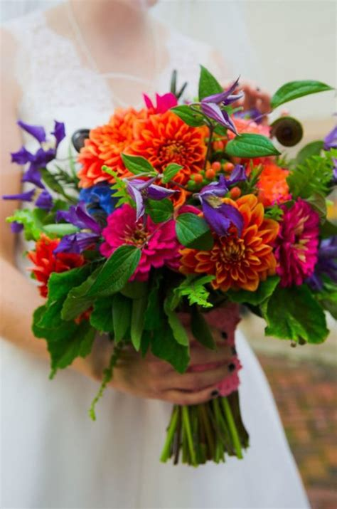 wedding wednesday bright  bold summer bouquets