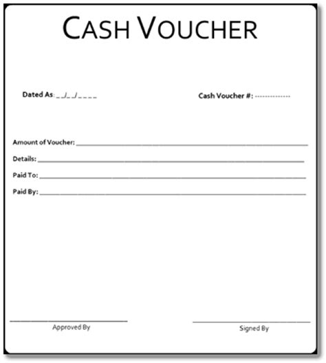 cash voucher format   form sample