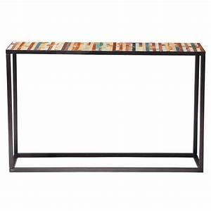 Console Metal Et Bois : table console en m tal et bois multicolore l 120 cm bahia maisons du monde ~ Teatrodelosmanantiales.com Idées de Décoration