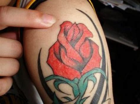 Charming Red Flowers Tattoo Designs For Valentine Day