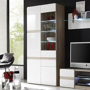 Vaisselier Blanc Et Bois : vaisselier lumineux bois et laqu blanc moderne isidore ~ Nature-et-papiers.com Idées de Décoration