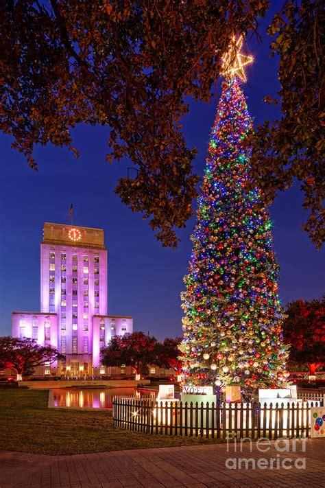 downtown houston christmas tree and city hall at twilight