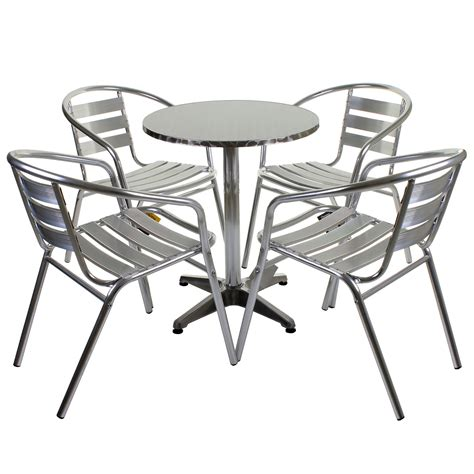 Outside Table Chairs by Aluminium Lightweight Chrome Bistro Sets Square