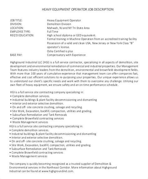 sample machine operator job description templates
