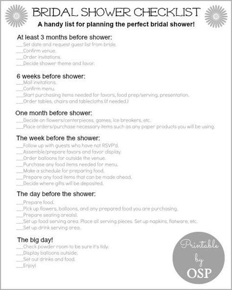 Bridal Shower Preparation by Bridal Shower Checklist Bridal Shower Checklist Bridal
