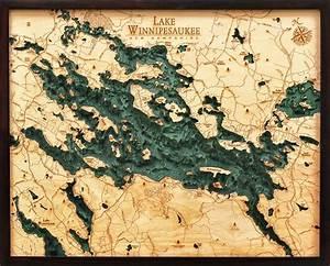 West Grand Traverse Bay Depth Chart Custom Wood Charts Of Lake Winnipesaukee From Carved Lake
