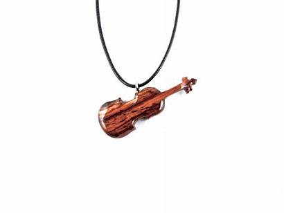 Violin Necklace Pendant Wood Carved Wooden