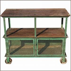 Reclaimed Wood Console Iron Metal 3 Tier Industrial ...