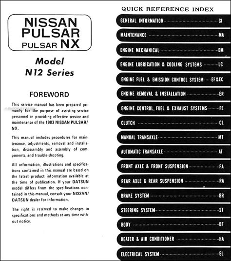 1983 datsun nissan pulsar nx repair shop manual original