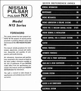 1983 Datsun Nissan Pulsar Nx Repair Shop Manual Original