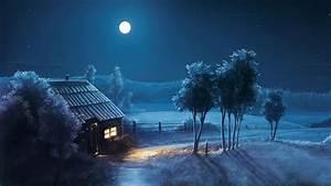 papéis de parede pintura lua estrelas noite floresta
