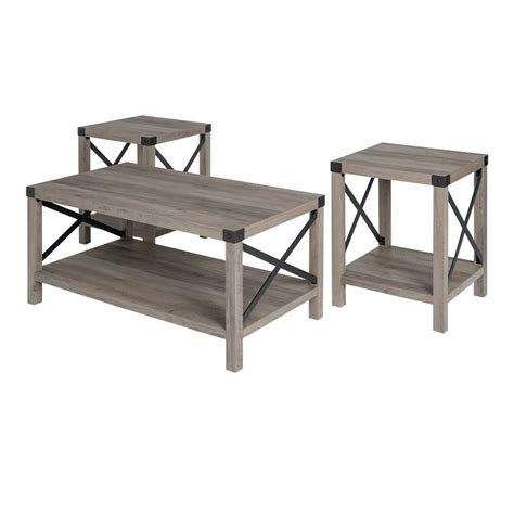 Yes it's low but that's the style steeped in scandinavian style, this distinctive coffee table is sure to spark conversation as it offers a spot to set down snacks this neutral gray coffee table will fit perfectly with any color arrangement. Walker Edison 3-Piece Rustic Wood and Metal Coffee Table Set in Gray Wash - Walmart.com ...