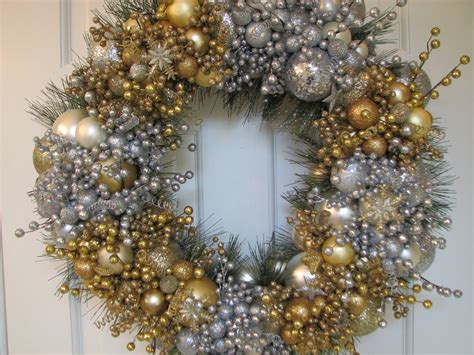 gold christmas wreath silver and gold heirloom wreath glass ornament