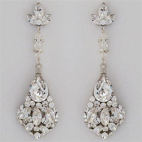 erin cole bridal earrings large teardrop chandelier earrings