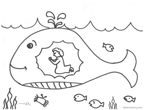 jonah   whale coloring pages praying