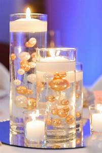 Floating, Candle, Centerpieces, With, Gold, And, White, Pearls