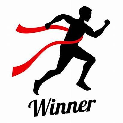 Finish Line Runner Crossing Winner Champion Vector