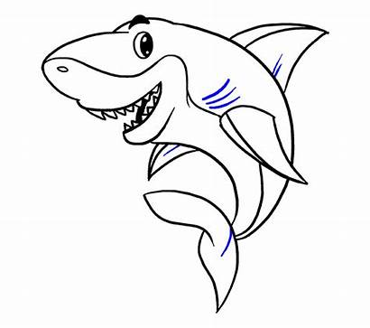 Shark Draw Drawing Cartoon Easy Sharks Step