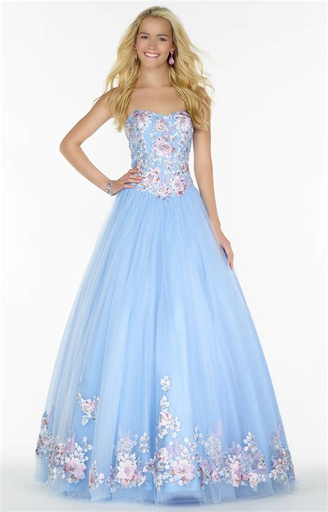 alyce paris  embroidered tulle ball gown prom dress
