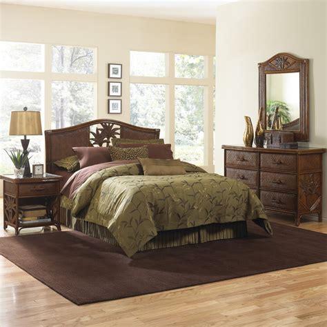 cancun palm  piece bedroom set wicker rattan queen king