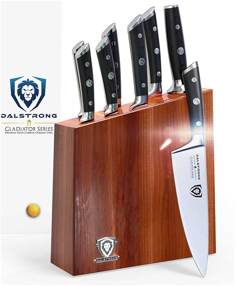 knife kitchen brands dalstrong gladiator series block german steel acacia wood hc sets consumer reports stainless pc hunting amazon quality