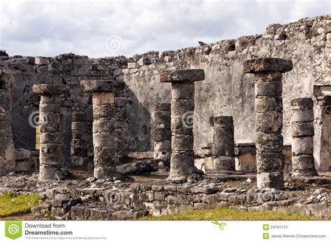Mayan Architecture Detail With Columns Stock Images