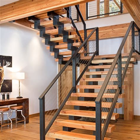single stringer stairs  shaped staircase  wooden