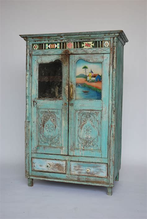 Painted Cupboard by Antique Indian Blue Painted Cupboard Hire Rental