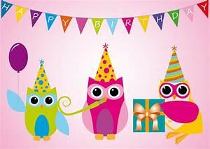 Happy, Eule, 2, Postkarten, Happy, Birthday, Eulen