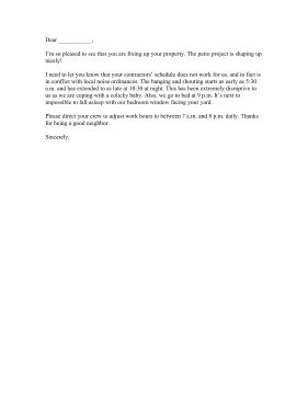 neighbor construction complaint letter