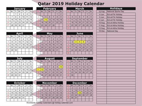 Qatar Holidays 2019 Calendar