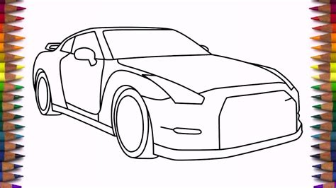 drawn car nissan pencil   color drawn car nissan
