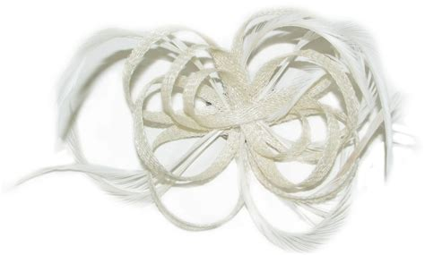 cream fascinator  hessian loops  feathers