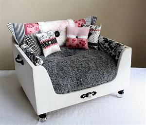Exclusive design white dog beds made of wood decosee com for Dog room furniture
